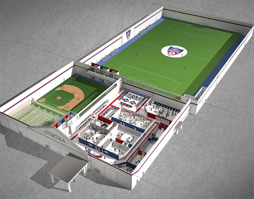 Sportika indoor sports facility michael v testa architect for Design indoor baseball facility